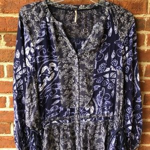 Free People Multi Pattern Drawstring Blouse